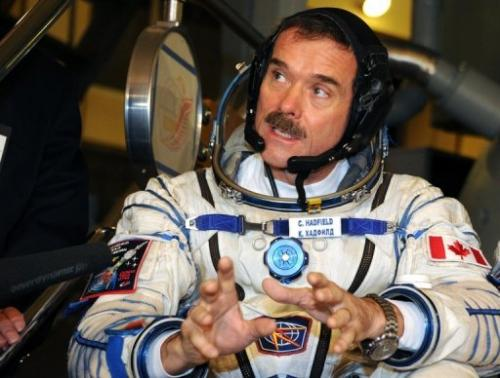 Canadian astronaut Chris Hadfield speaks at the Cosmonaut Training Centre in Star City on November  28, 2012