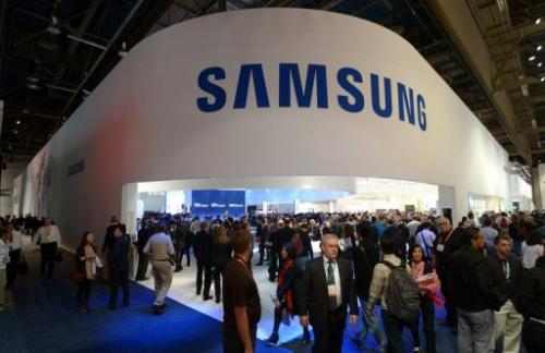 Consumers flood Samsung booth at the 2013 International CES at the Las Vegas Convention Center, on January 10, 2013