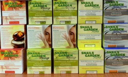 """Cosmetics produced from snails onsale at the """"Snail Garden"""" farm in Krasin, northern Poland, on May 29, 2013"""