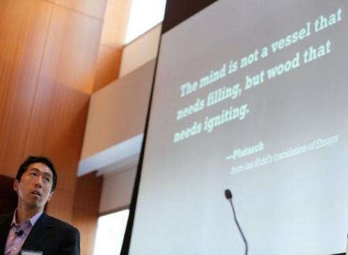 Coursera co-founder Andrew Ng makes a presentation on October 18, 2012 in New York City
