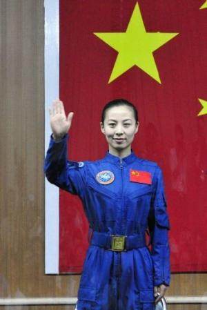 Crew member of the Shenzhou-10, Wang Yaping, during a press conference on June 10, 2013