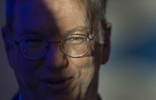 "Eric Schmidt, Google's executive chairman, at the Google-sponsored ""big tent"" event on April 26, 2013 in Washington, D"