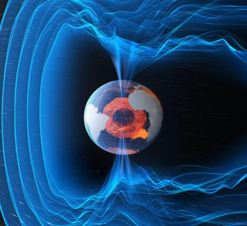 The magnetic field of earth is thought to be generated by motions in its