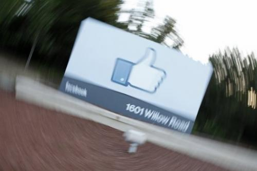 Facebook's Like Button logo in Menlo Park, California on May 18, 2012