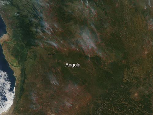 Farmland fires in Angola