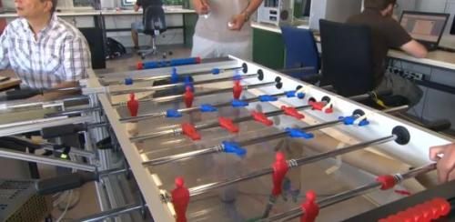 A robot to beat humans at foosball