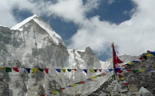 File photo of Everest Base Camp and the summit of the world's highest mountain in Nepal
