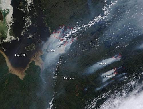 Forest fires near James Bay, Quebec