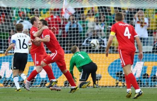 Frank Lampard (3rd L) scores a denied goal during the 2010 World Cup on June 27, 2010 at Free State stadium