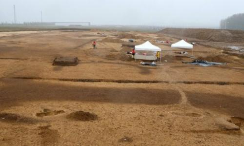 General view April 11, 2013, of an INRAP site in Bucheres, near Troyes