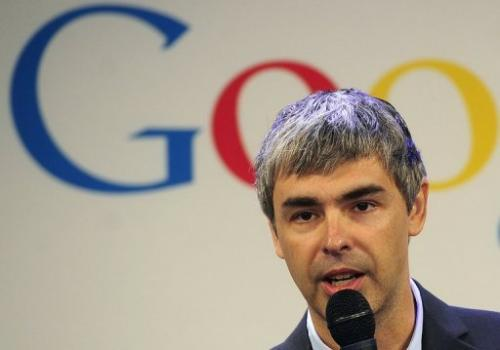Google CEO Larry Page holds a press announcement at the company's New York headquarters on May 21, 2012