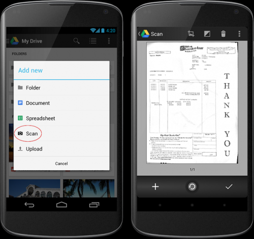 Google Drive sports new view and scan enhancements