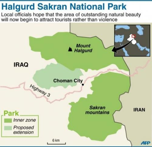 Graphic map of Halgurd Sakran National Park in northern Iraq