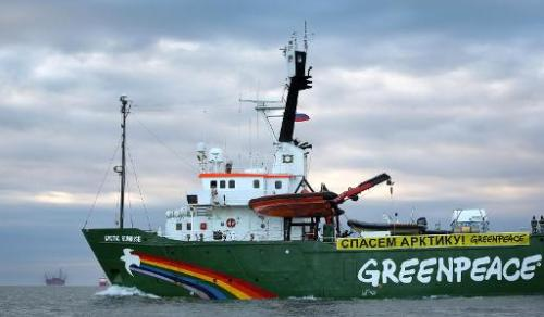 Greenpeace's Arctic protest ship the Arctic Sunrise pictured on September 17, 2013 somewhere off Russia's north-eastern coast in