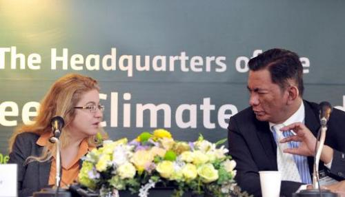 Hela Cheikhrouhou (L), executive director of the Global Climate Fund, and Jose Maria Clemente, co-chair of the board, at the ope