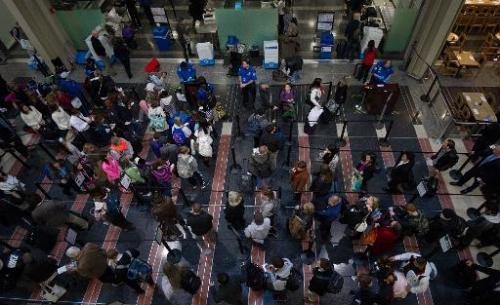 Holiday travelers line up for one of the TSA security checkpoints at Ronald Reagan National Airport in Washington on November 26