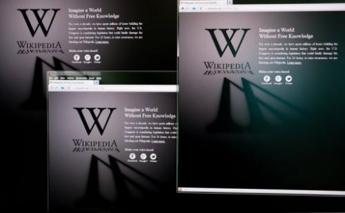 Homepages of the Wikipedia website, pictured in Hong Kong on January 18, 2012.