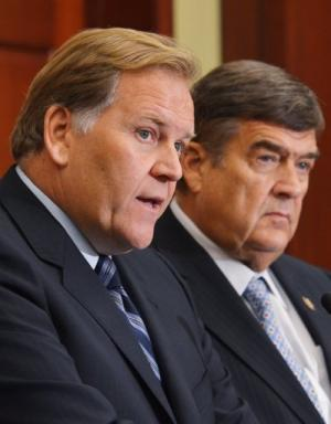 House Intelligence Committee leaders Mike Rogers (L) and Dutch Ruppersberger are pictured on October 8, 2012