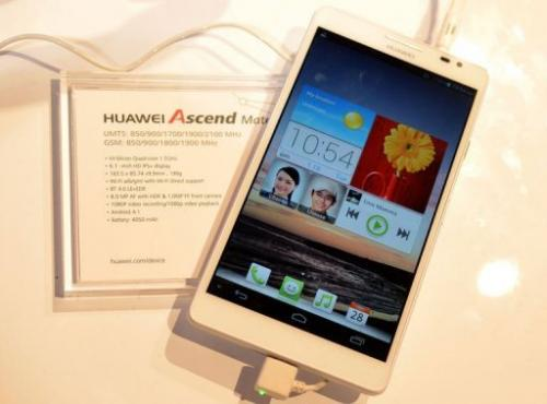 Huawei's Ascend Mate smartphone is seen during the 2013 International CES in Las Vegas on January 10, 2013