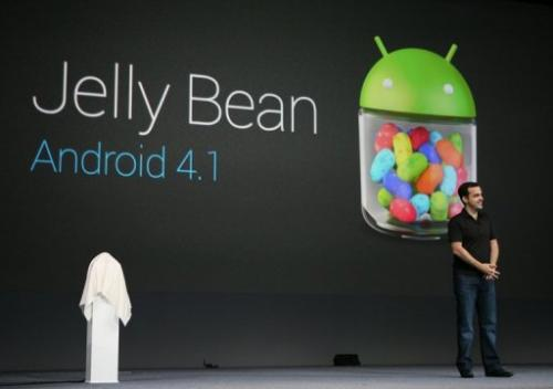 Hugo Barra, product management director of Android, introduces Google's Android 4.1 Jelly Bean system, June 27, 2012