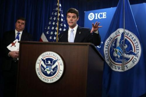 ICE Director John Morton speaks during a news conference on January 3, 2013 at the ICE headquarters in Washington