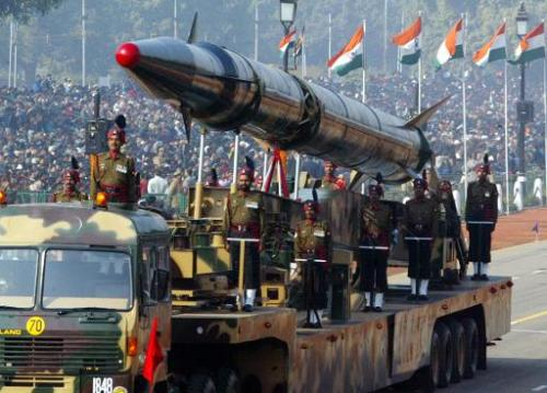 Indian Army personnel display an Agni-II nuclear-capable missile during India's Republic Day parade in New Delhi, in January 200