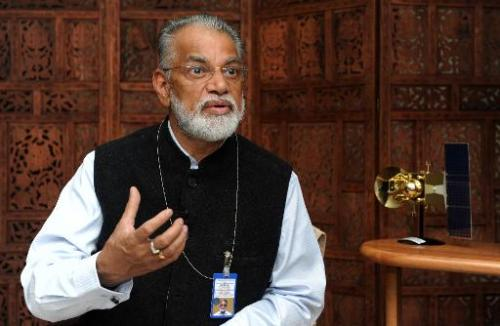Indian Space Research Organisation (ISRO) Chairman and Secretary, Department of Space Koppillil Radhakrishnan speaks during an i