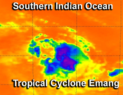 Infrared NASA imagery shows sinking air, elongation in Tropical Storm Emang