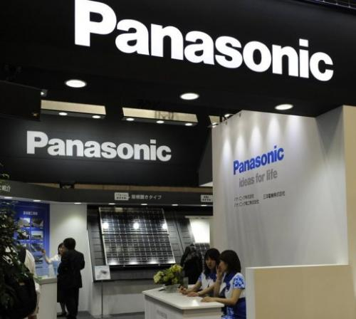 Japan's Panasonic displays a solar panel, produced by Sanyo, at an exhibition in Yokohama, on June 30, 2010