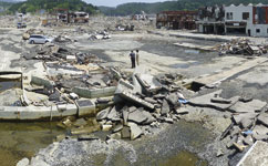 Japan tsunami exacerbated by landslide