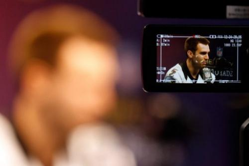 Joe Flacco of the Baltimore Ravens answers questions from the media, on January 29, 2013, in New Orleans