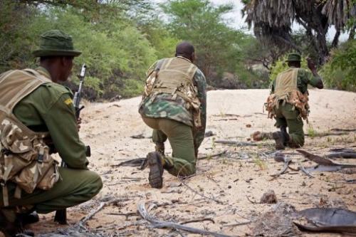 Kenya Wildlife Service (KWS) anti-poaching squad, seen during a patrol at the Kora National Park, on January 30, 2013
