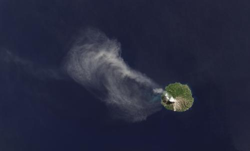 Landsat thermal sensor lights up from volcano's heat