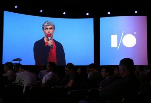 Larry Page, Google co-founder and CEO, speaksduring the Google I/O developers conference in California on May 15, 2013