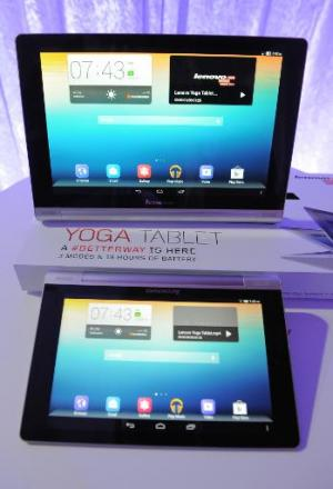 Lenovo unveils the Yoga Tablet in Los Angeles on October 29, 2013