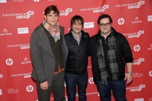 (L-R) Ashton Kutcher, Joshua Michael Stern and  Josh Gad at the premiere of