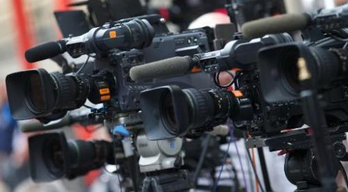 Media video camera's are trained on the door of The Lindo Wing of Saint Mary's Hospital in Paddington, west London on July 21, 2
