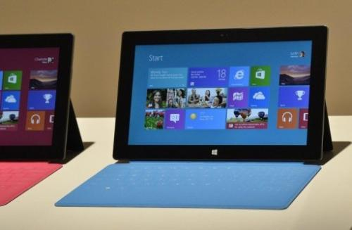Microsoft's 'Surface' tablet pictured during a press conference in Hollywood, California, June 18, 2012