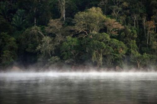 Mist over the surface of the Xingu river in Sao Felix do Xingu in Para state, northern Brazil, on August 7, 2013