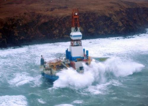 Mobile drilling unit Kulluk owned by Shell aground on the southeast side of Sitkalidak Island, Alaska, January 1, 2013