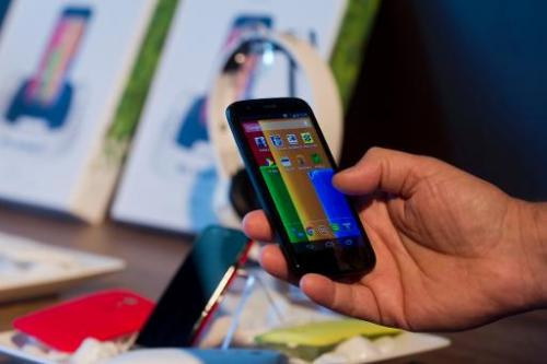 Motorola's new low cost smartphone Moto G, is displayed in Sao Paulo, Brazil on November 13, 2013