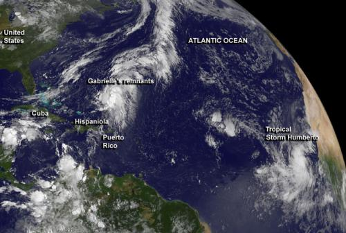 NASA investigates Gabrielle's remnants and new Tropical Storm Humberto