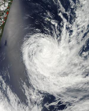 NASA sees Cyclone Dumile moving over open ocean
