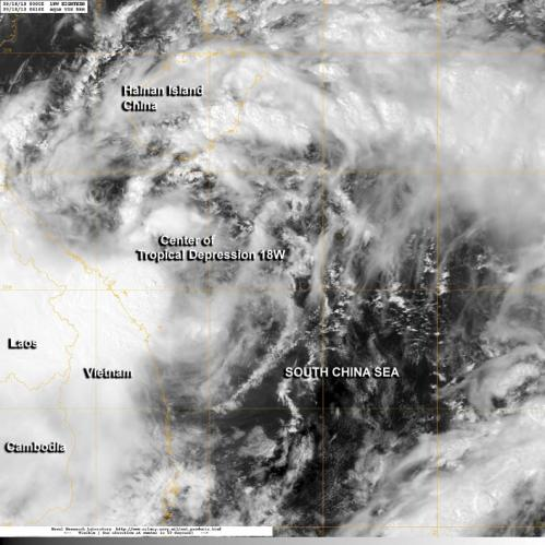 NASA sees formation of northwestern Pacific's Tropical Depression 18W