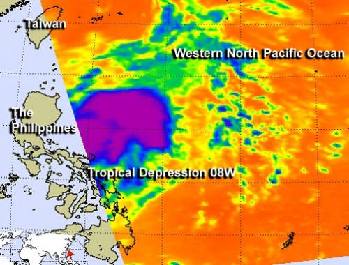 NASA sees newborn Tropical Depression 08W in infrared