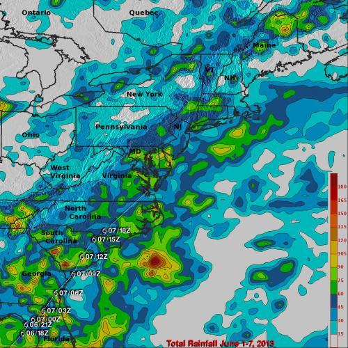 NASA's TRMM Satellite sees Andrea's heavy rains in Cuba, US East Coast