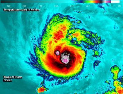 NASA's various views of Tropical Storm Dorian
