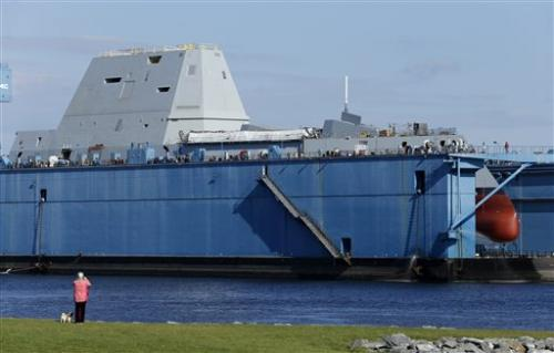 Navy's giant, stealthy new destroyer gets hull wet