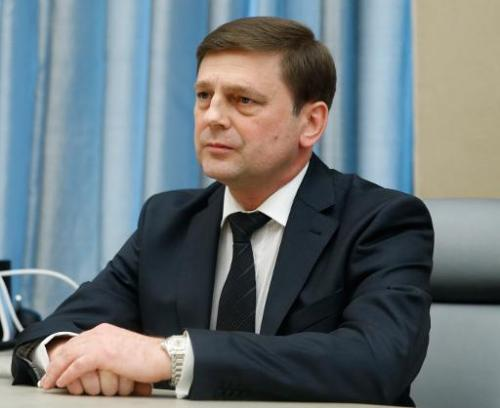 Newly appointed space agency chief Oleg Ostapenko attends a meeting with Russia's Prime Minister Dmitry Medvedev in the governme