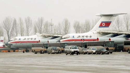 North Korea's Air Koryo jets are seen in Pyongyang, on February 25, 2008
